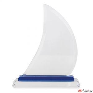 Trofeos de cristal forma vela de barco pequeña para personalizar