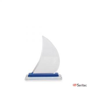 Trofeos de cristal forma vela de barco grande serigrafiada