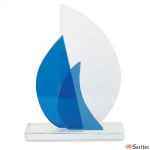Trofeo pequeño veleros de cristal personalizado