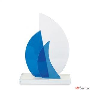 Trofeo mediano veleros de cristal serigrafiado