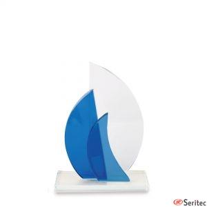 Trofeo grande veleros de cristal para personalizar