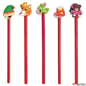 Set de lápices navideños personalizados