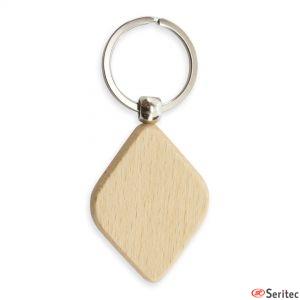 Llavero de madera forma rombo personalizado