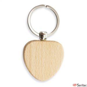 Llaveros de madera con forma de corazón publicitarios
