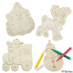 Set publicitario de piezas de madera navideñas para colorear