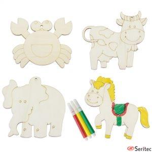Set publicitario de piezas de madera de animales para colorear