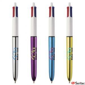 Bolígrafo Bic 4 colours Shine publicitario