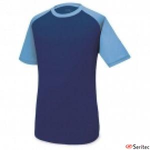 Camiseta técnica combinada en azul publicitaria