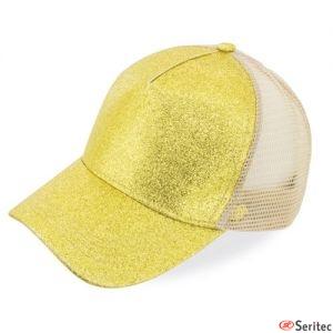 Gorra con glitter y rejilla publicitaria
