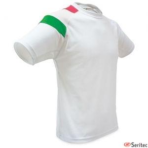 Camiseta blanca con la bandera de Italia personalizada