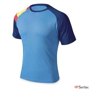 Camiseta azul con la bandera de España personalizada