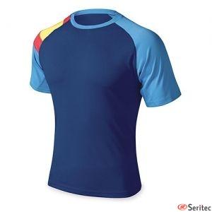 Camiseta azul royal con la bandera de España para personalizar