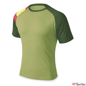 Camiseta verde con la bandera de España personalizada