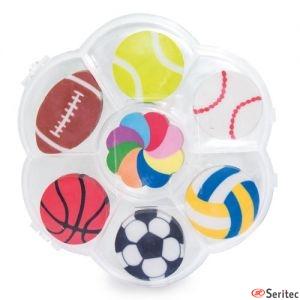Set de gomas con forma de balones para personalizar