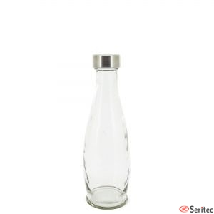 Botella transparente de cristal publicitaria