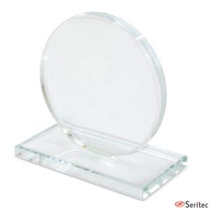 Trofeo de cristal redondo personalizado