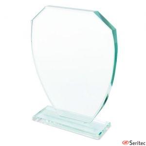 Trofeo de cristal con forma de escudo personalizado
