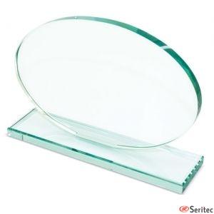 Trofeo de cristal ovalado personalizado