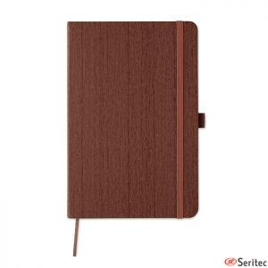 Libreta con estampado de madera para personalizar