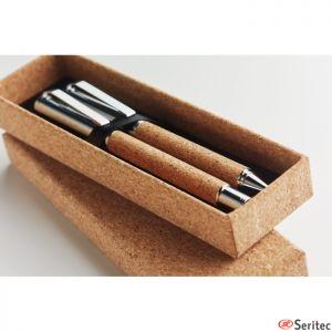Set bolígrafo y roller de corcho personalizado