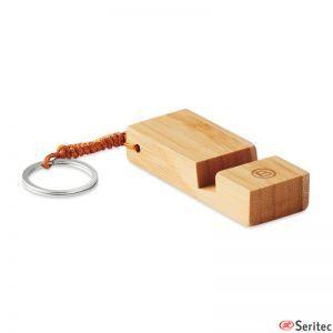Llavero de bambú con soporte para teléfono personalizado