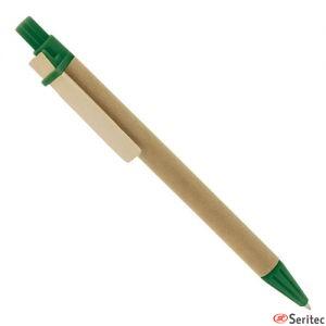 Bolígrafo personalizable de cartón reciclado y clip en madera.