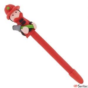 Bolígrafo artesanal personalizable con figura de bombero.