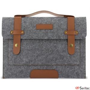 Maletín personalizable para portátil o Tablet en fieltro gris