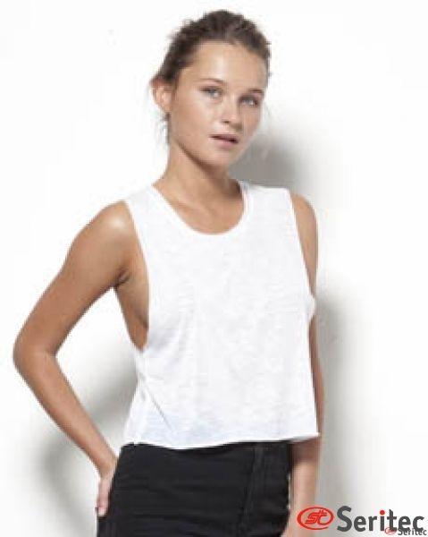 Camiseta mujer tirantes con asa escotada personalizable