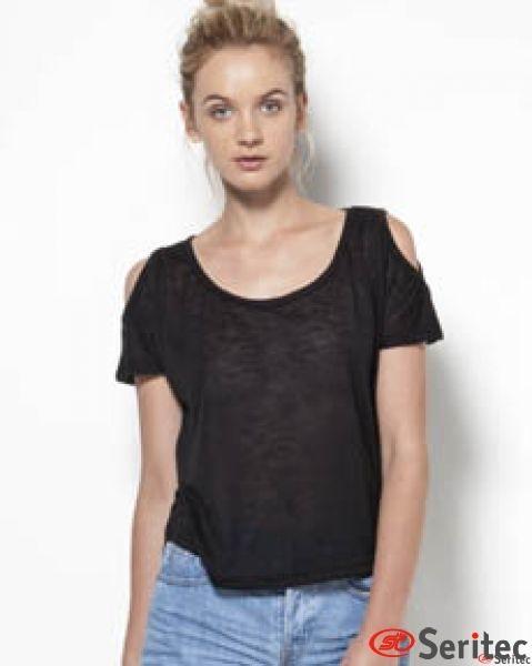 Camiseta mujer manga corta con hombros al aire personalizable