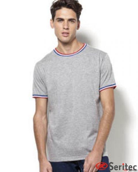 Camiseta con contraste en cuello y mangas personalizable