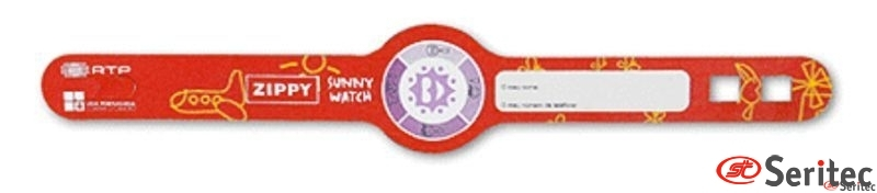 Pulsera identificación niños con medidor rayos uva personalizada