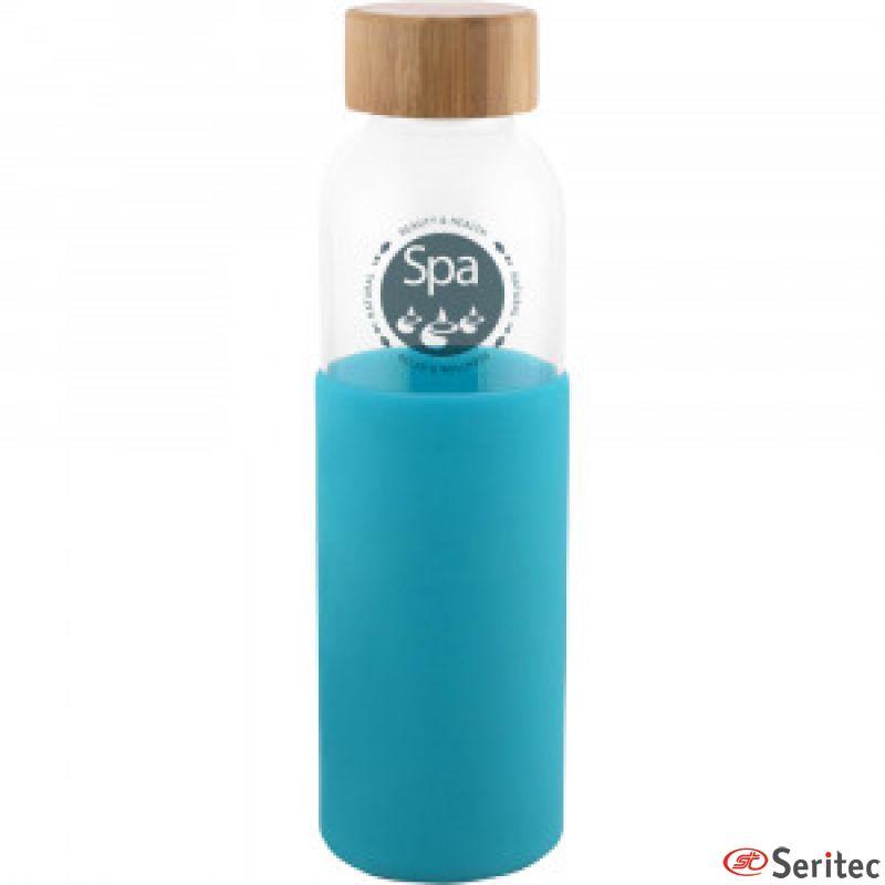Botella de cristal con funda de silicona personalizada