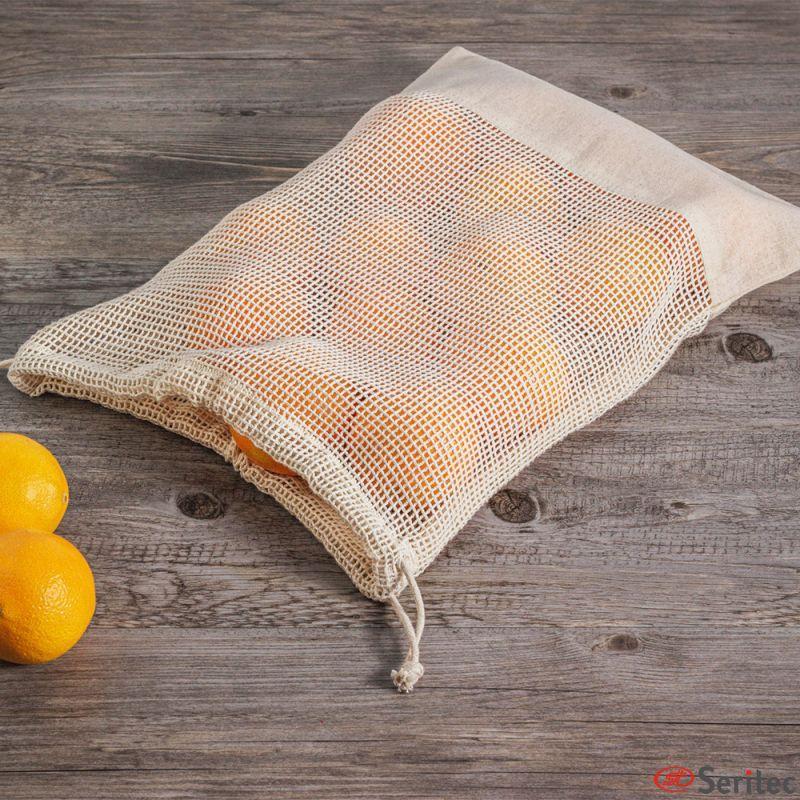 Bolsa para frutas y verduras con red de algodón personalizada