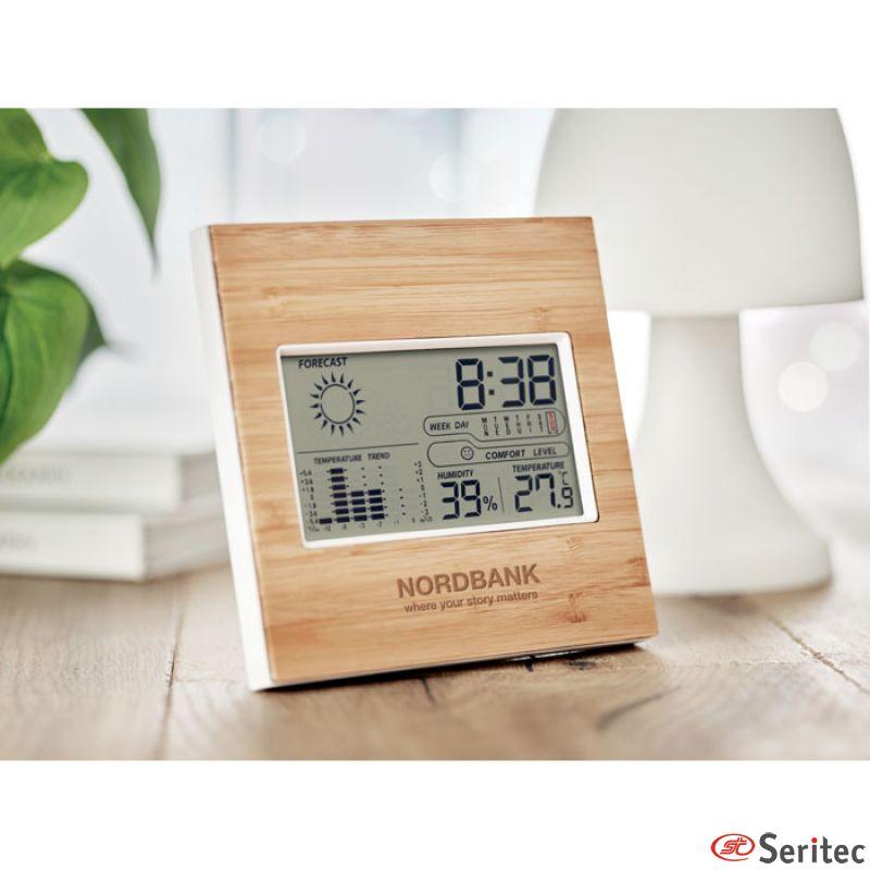 Estación meteorológica de bambú publicitaria