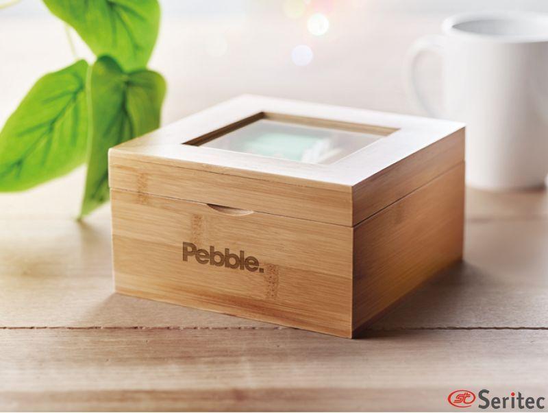 Caja de té de bambú con tapa de cristal publicitaria