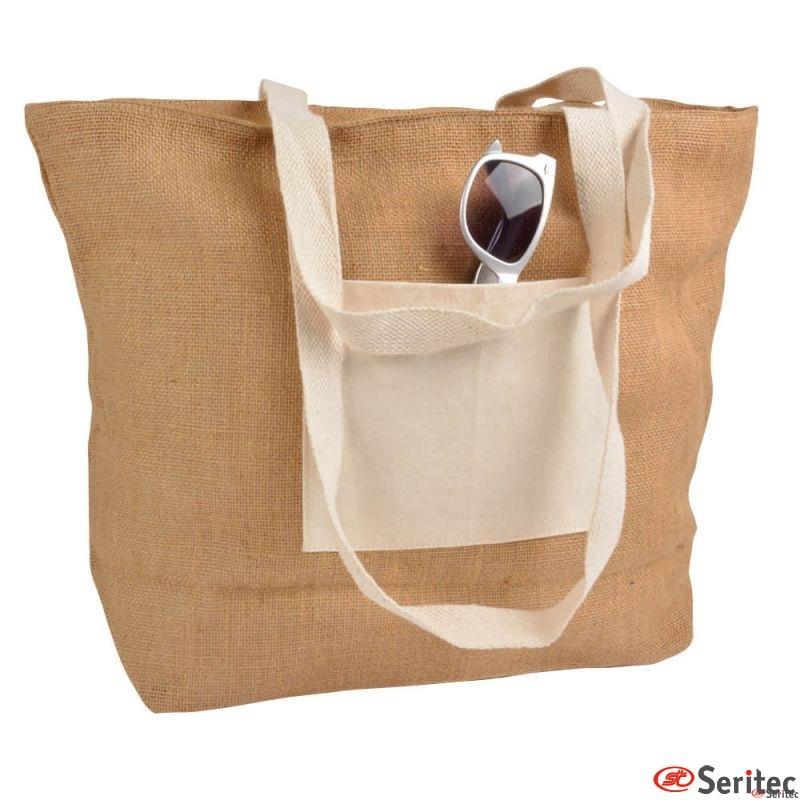 Bolsa de yute y algodón natural personalizada