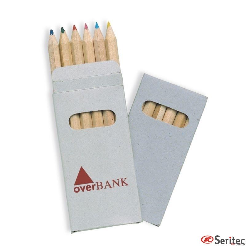 Cajita con 6 lápices de colores publicitarios