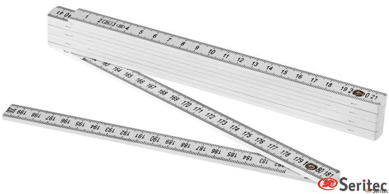 Regla metro plegable blanca de 2 m.