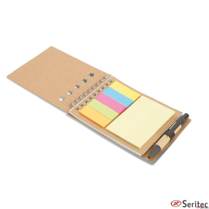 Libreta reciclada personalizable con bolígrafo marcadores y bloc de notas