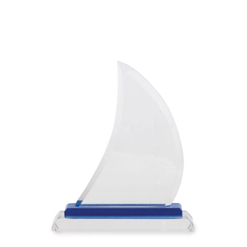 Trofeos de cristal forma vela de barco mediana personalizada