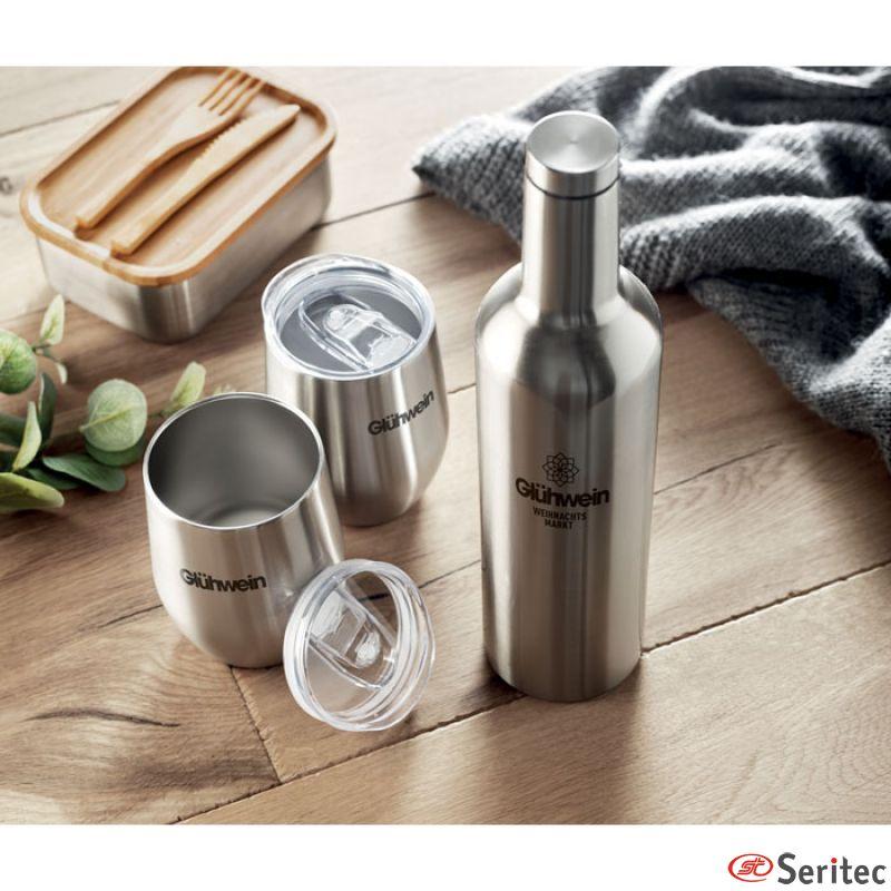 Set de botella de acero inox con 2 tazas publicitaria