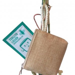 Set toallitas hidroalcohólicas en mini neceser reutilizable